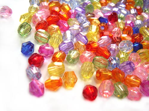 Acrylic Transparent 4x5mm Faceted Round/Bicone Beads 11g (x350pc) Soup Mix
