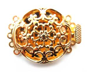 Beadsmith, 5-Strand Gold Plated Filigree Pearl Clasp