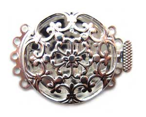 Beadsmith, 5-Strand Silver Plated Filigree Pearl Clasp