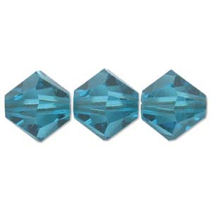 Swarovski Crystal Beads Bicone 6mm Blue Zircon