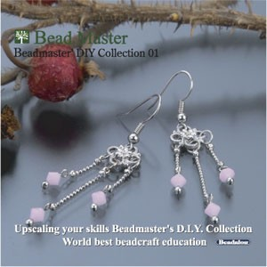 Jewellery Project Kit - Beadmaster's DIY  with CD Guide - Milky Pink Earrings