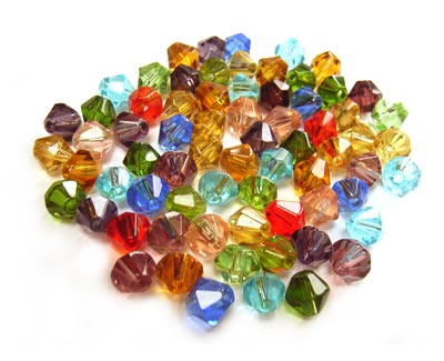 Fire Polished Transparent Glass Beads 6mm Bicone - Soup Mix 16.6 grams (x70 beads)