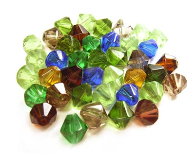 Fire Polished Transparent Glass Beads 8mm Bicone - Earth & Sky Soup Mix 19g (x40 beads)