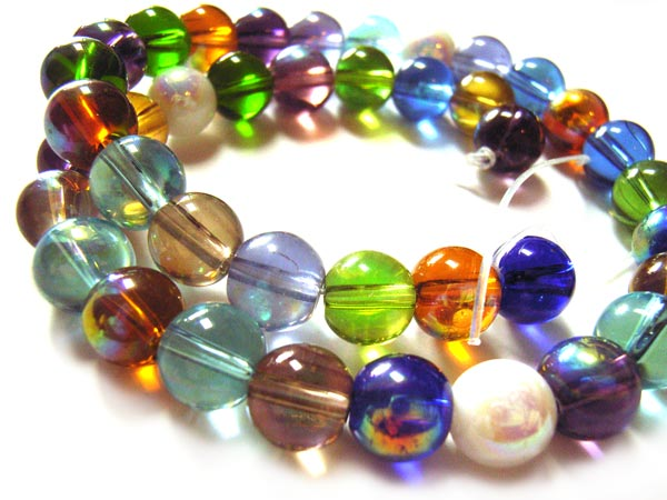 Round Glass Beads 8mm ~ AB Soup Mix x41 approx