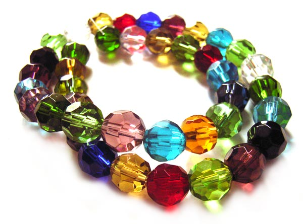 Firepolished Glass Beads Faceted Round 8mm ~ Soup Mix x40 approx