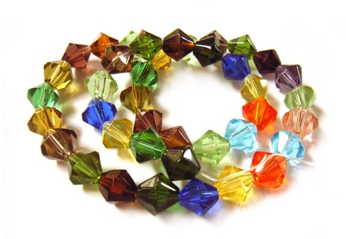 Fire Polished Transparent Glass Beads 8mm Bicone - Soup Mix x40 beads