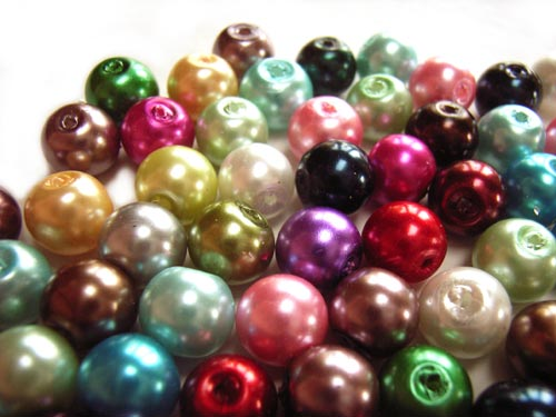 Faux Pearls 8mm Glass Beads 70 gram Soup Mix