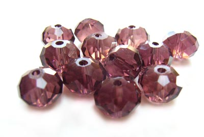 Imperial Crystal Roundelle Beads 8x6mm Smokey Amethyst