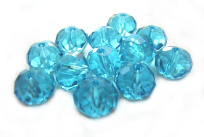 Imperial Crystal Roundelle Beads 8x6mm Aquamarine (70pc approx)