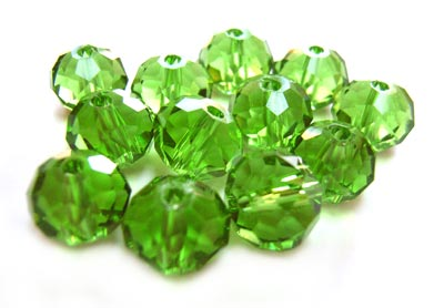 Imperial Crystal Roundelle Beads 8x6mm Green (70pc approx)