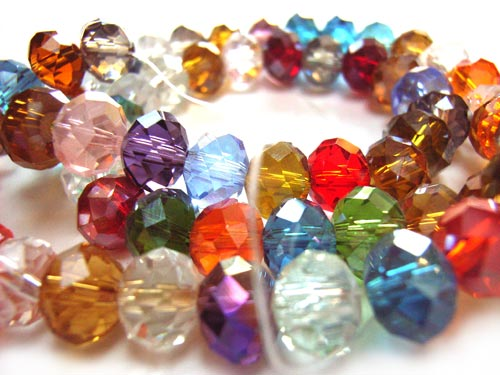Imperial Crystal Roundelle Beads 8x6mm Jewels Lustre Mix (70pc approx)