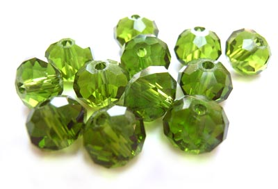 Imperial Crystal Roundelle Beads 8x6mm Olivine (70pc approx)