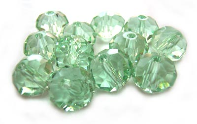 Imperial Crystal Roundelle Beads 8x6mm Peridot (70pc approx)