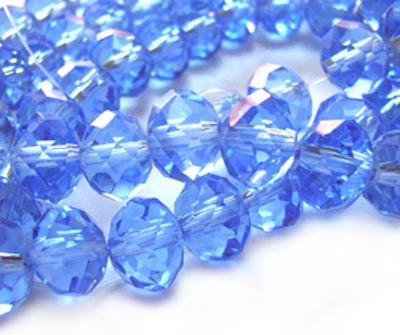 Imperial Crystal Roundelle Beads 8x6mm Med Sapphire (70pc approx)