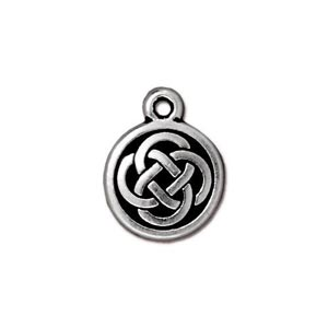 TierraCast Pewter Antique Silver Plated 11.5x15mm Celtic Round Charm
