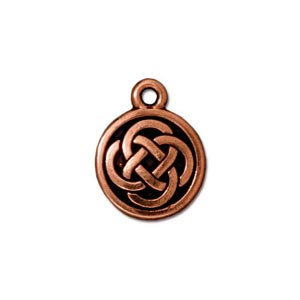 TierraCast Pewter Antique Copper Plated 11.5x15mm Celtic Round Charm