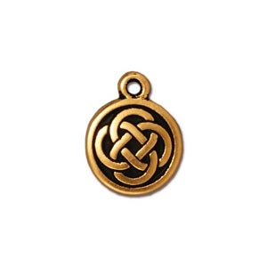 TierraCast Pewter Gold  Plated 11.5x15mm Celtic Round Charm