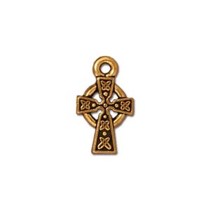 TierraCast Pewter Gold Plated 8.7x14.9mm Small Celtic Cross