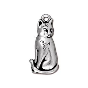 TierraCast Pewter Antique Silver Plated Sitting Cat Charm (22x10mm) x1