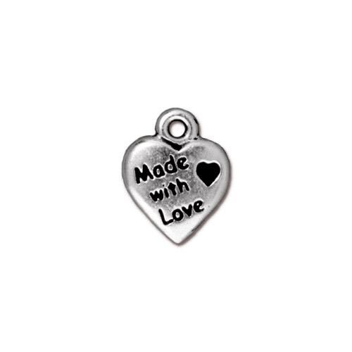 TierraCast Pewter Antique Silver Plated 10mm Made with Love Charm x1