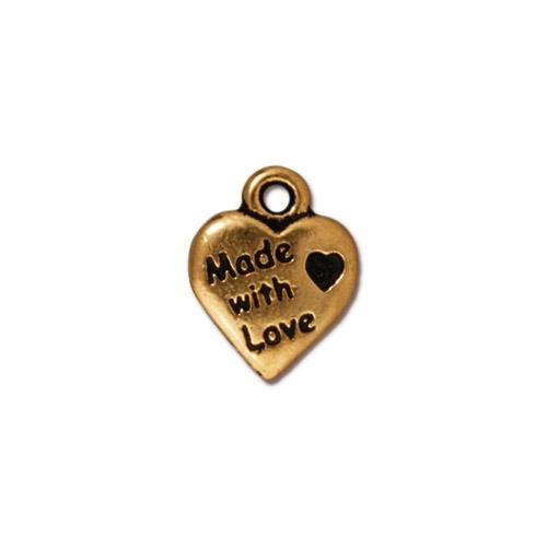TierraCast Pewter Gold Plated 10mm Made with Love Charm x1