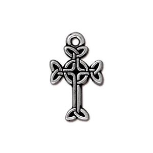 TierraCast Pewter Antique Silver Plated 11x18.4mm Medium Celtic Cross
