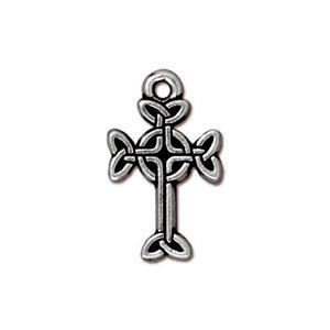 TierraCast Pewter Antique Silver Plated 11x18.4mm Medium Celtic Cross