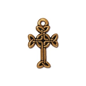 TierraCast Pewter Gold Plated 11x18.4mm Medium Celtic Cross