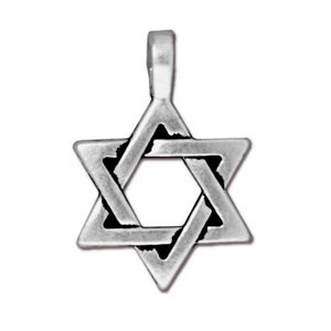 TierraCast Pewter Antique Silver Plated 17x25mm Star of David Pendant
