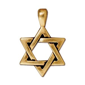TierraCast Pewter Gold Plated 17x25mm Star of David Pendant