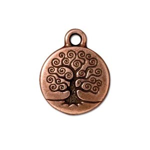 TierraCast Pewter Antique Copper Plated 15.3mm Tree of Life Charm