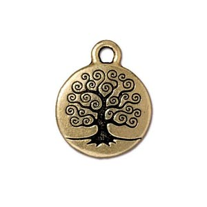 TierraCast Pewter Gold Plated 15.3mm Tree of Life Charm