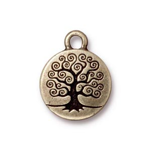 TierraCast Pewter Brass Oxide 15.3mm Tree of Life Charm