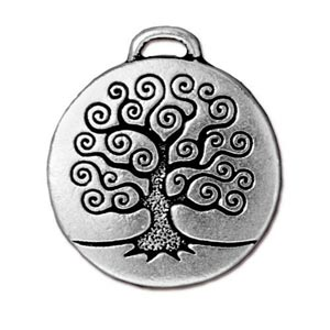 TierraCast Pewter Antique Silver Plated 23.6mm Tree of Life Pendant