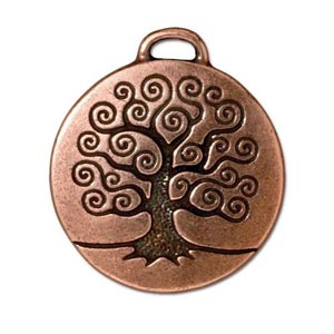 TierraCast Pewter Antique Copper Plated 23.6mm Tree of Life Pendant