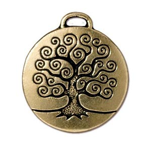 TierraCast Pewter Gold Plated 23.6mm Tree of Life Pendant