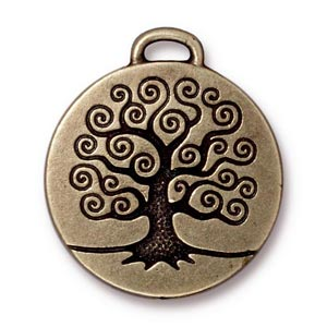 TierraCast Pewter Brass Oxide 23.6mm Tree of Life Pendant