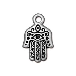 TierraCast Pewter Antique Silver Plated 13 x 20.6mm Miriam Hamsa Hand Charm