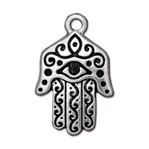 TierraCast Pewter Antique Silver Plated 17 x 26mm Miriam Hamsa Hand Pemdant