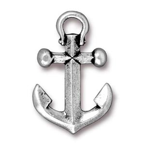 TierraCast Pewter Silver Plated 27x17.5mm Anchor Drop Pendant x1