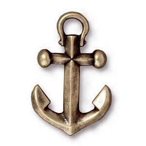 TierraCast Pewter Brass Oxide 27x17.5mm Anchor Drop Pendant x1