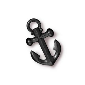 TierraCast Pewter Black 19.5x12mm Anchor Drop Charm x1