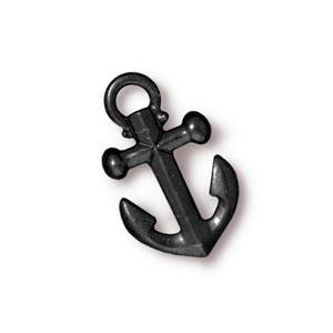 TierraCast Pewter Black 19.5x12mm Anchor Drop Charm x1