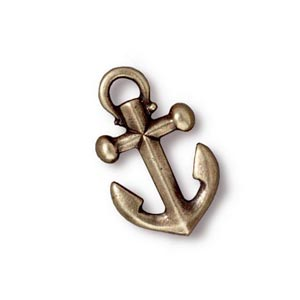 TierraCast Pewter Brass Oxide 19.5x12mm Anchor Drop Charm x1