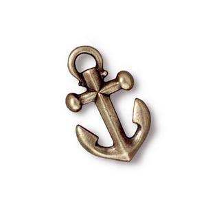 TierraCast Pewter Brass Oxide 19.5x12mm Anchor Drop Charm x1