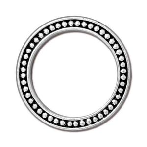 "TierraCast Pewter Antiqued Silver Plated 1"" - 25mm Beaded Ring Link x1"