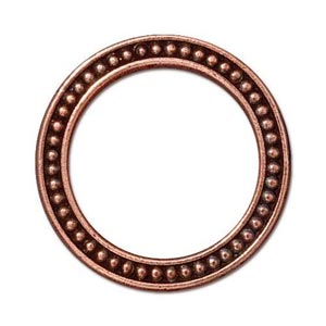 "TierraCast Pewter Antiqued Copper Plated 1"" - 25mm Beaded Ring Link x1"