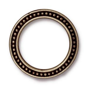 "TierraCast Pewter Antiqued Brass Oxide 1"" - 25mm Beaded Ring Link x1"