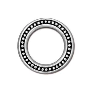 TierraCast Pewter Antique Silver Plated 19mm Large Beaded Ring Link x1