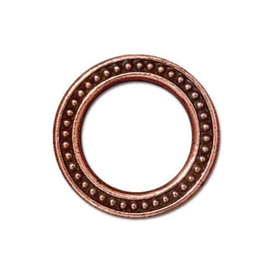 TierraCast Pewter Antique Copper Plated 19mm Large Beaded Ring Link x1